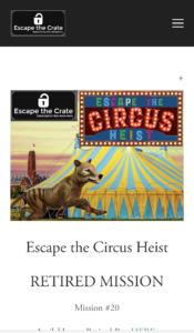 Starting page of Circus Heist